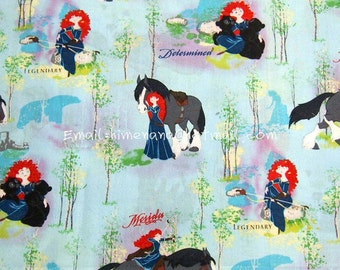 gz1201(Defect) - 1 Yard Cotton Woven Fabric - Cartoon Characters, Brave, Princess Merida and Horse - Light Blue (W105)