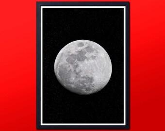 MOON PRINT, moon wall art, moon wall decor, moon art, moon decor, moon phase print, moon phase wall, moon printable, space print, digital