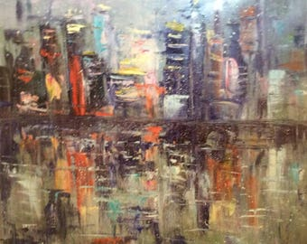 """City Lights Abstract City Painting Original Oil Painting 30 x 30"""""""