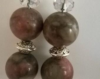 Rhodonite earrings,stone,czech crystals