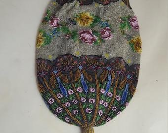 Vintage Microbeaded Bag Roses & Dragonflies