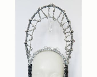 Ice Queen Crown Fantasy Headdress Showgirl Headdress Carnival Headdress Geadpiece Fairy Headdress Avangard Style Crown Photoshoot Props