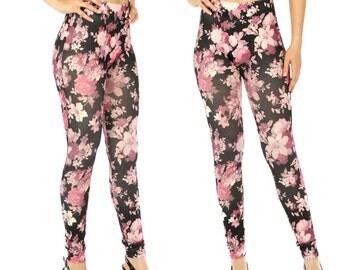 Black Floral Leggings Floral Print Leggings Flower Print Leggings Rose Print Leggings Pink Printed Leggings Yoga Leggings FREE U.S. SHIPPING