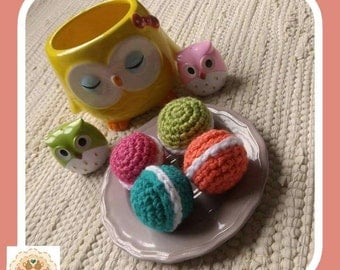 Crochet Macarons, Crochet Cookies, Pretend Macarons, Crochet Food, Fake Food, Fake Macarons, Children's Play Food, Kids Play Food, Play food