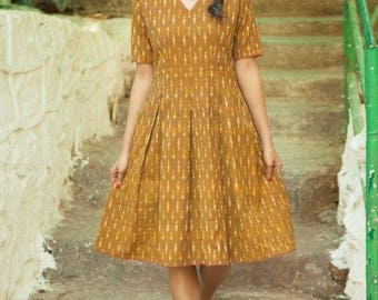 Brown & Mustard Ikat Dress