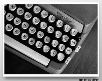 vintage typewriter print // typewriter art // black and white art // home office decor // prints//  - Just Your Type