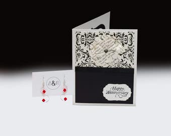 Elegant Anniversary Card and Earrings Gift