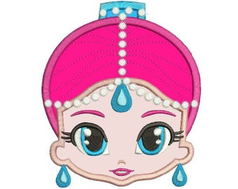 Shimmering Genie applique Design Instant Download 3 sizes