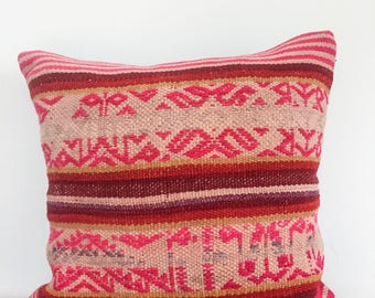 Andes rainbow mountain pillow case, peruvian handmade pillow decorative, Colors ands stripes, embroidered, ethnic and fair trade.