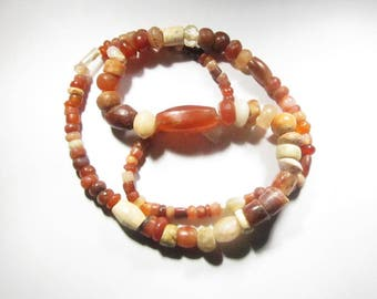 Ancient Beads Medieval Carnelian Agate and Smooth and Faceted Quartz Crystal Beads over 24 Inches from Northern Africa (Sudan) - 114 Beads