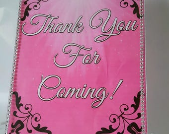 8 x 10 Birthday Sign 'Pink' Thankyou For Coming