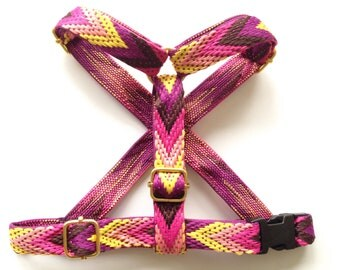 Dog harness for puppy / small - medium dog. Woven no choke adjustable harness, boho style: choose beteen purple or green