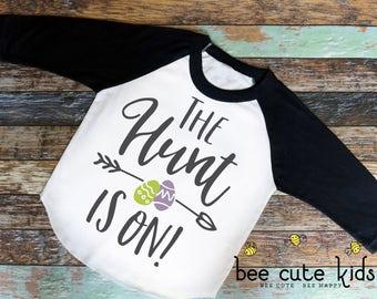 Easter Shirt - Boys Easter Shirt - Kids Easter Shirt - Easter Outfit - The Hunt Is On - Girls Easter Shirt - Egg Hunt Shirt - Easter Raglan