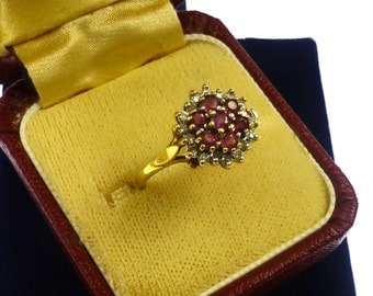 Pretty Ruby And Diamond Clustger Ring