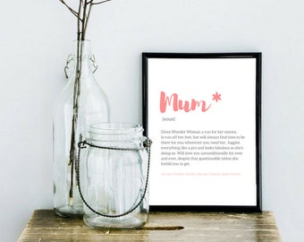 Mother's Day Gift, Definition, Mum, Mom, Typography Print, Daughter, Love, Family Poster, Present, Birthday Present, Wall Art, Interior Art