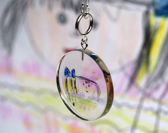CUSTOM Childrens Drawing Necklace, Personalized Handmade Pendant, Custom Gift