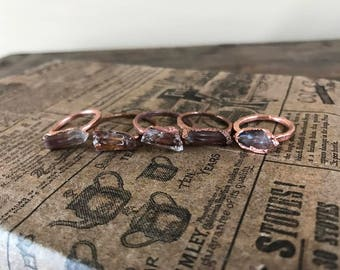Quartz Handmade Copper Stacking Rings