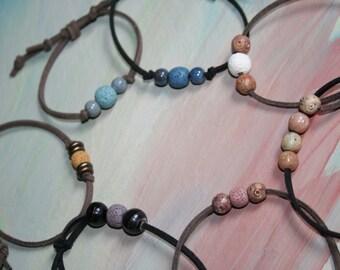 Lava Stone Suede Bracelet, Essential Oil Suede Bracelet , Aromatherapy Bracelet, Diffuser Bracelet , Leather Bracelet, Lava Stone Diffuser