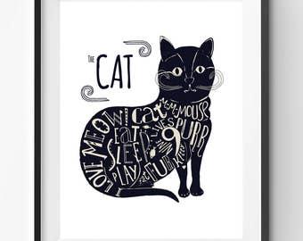 The Cat Is Print, Cat Quote, Love Cat Quote, Cat Quote Art, Nursery, Love Meow Print, Cat Cartoon, Black Cat Poster, Typography Print
