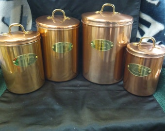 New Vintage Cooper set of 4 Canisters.