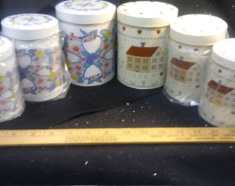 New 2 Vintage Metal 3 in 1 Kitchen Canisters with Home Decor Scenes