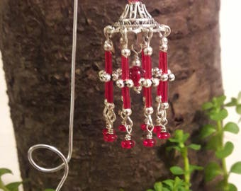 MIniature Fairy garden Wind Chime - Red