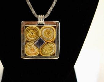 Meyer Lemon with an accent of blue pendant. Chain not included