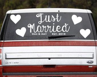 Sticker voiture Just Married - voiture Just Married signe - décoration de voiture mariage - Custom Just Married signe - Just Married autocollant - mariage limousine