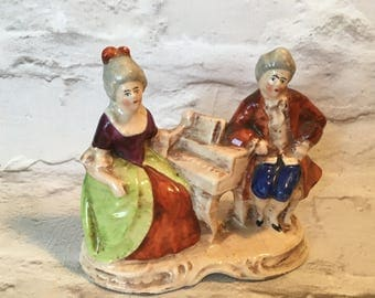 vintage ornament, couple ornament, fortepiano, period costumes ornament