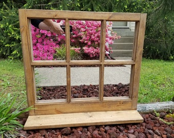 Rustic Window with Mirror Panes and Shelf