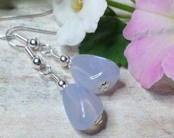 Semi Precious Chalcedony Gemstone Earrings Pale Blue Chalcedony Drop Earrings Blue Jewellery Delicate Earrings Chalcedony Jewellery