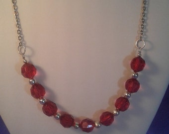 Simply pretty red necklace women