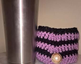 Chevron style crochet cozy, sleeve, disposable coffee cup