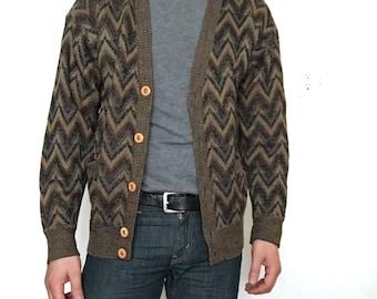 Brown Chevron Pattern Cardigan Sweater