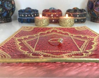 Hand Painted Glass Jewelry Tray, Candle Holder, Ring Dish, Henna Design
