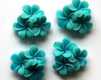 Light Blue Flower Cabochons x 4