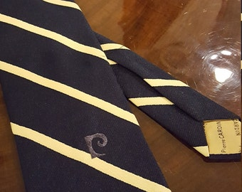 "Vintage Pierre Cardin necktie w/ monogram, navy with gold stripes, wide (3.5"")"