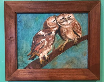 Framed painting -owls in love