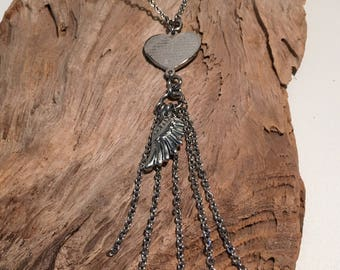 The Lord's Prayer Heart Angel Wing Fringe Necklace, Stainless Steel, Sideways Cross, In God's Hands