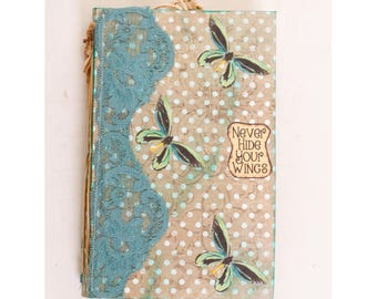 A handmade butterfly diary Journal / Memories Journal / travel journal / Notebook journal leaflet book Sketch books  for a present or gift