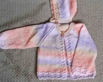 gorgeous 0-3months jacket and hat in rainbow colours