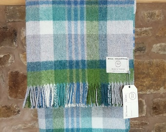 Bronte By Moon - Pure British Wool Throw Green &Blue Check Factory Seconds