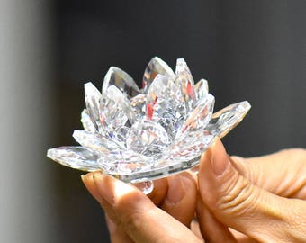 Crystal Ornament-Lotus Flower Crystal-SilverBayCrystals Crystal Flower-Vintage Crystal-Crystal ornament-Glass Ornaments-Collectors Ornaments