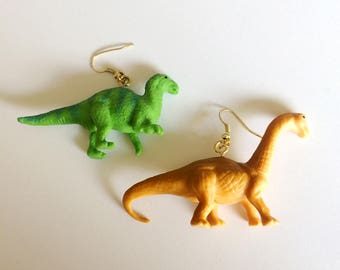 Dinosaur Earrings - Funky Chunky Dino Earrings by Sayuri Kimbell - Green Dinosaur and Brown Dinosaur - Fun and lightweight earrings