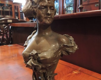 Art noveau half-bust of woman (spelter)