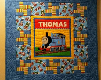 THOMAS THE TRAIN Baby Quilt/Toddler/Wallhanging/Custom Free Motion Quilting/Precision Piecing