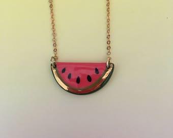Watermelon pendant necklace, ceramic, 22k gold lustre, medium size