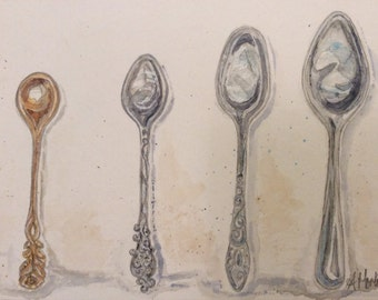 Four vintage spoons watercolour painting