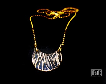 Crescent Moon ormolu Zebra pendant