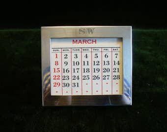 Vintage Gorham Sterling Silver Reusable Desk Calendar
